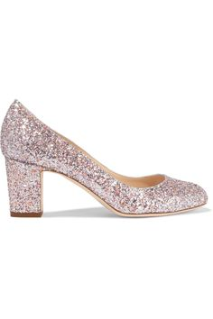 Jimmy Choo - Billie Glittered Leather Pumps - Pastel pink - IT Leather Slip On Shoes, Leather Pumps, Glitter Pumps, Jimmy Choo Shoes, Cheap Shoes, Kitten Heels, Peep Toe, Pastel Pink, Women