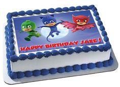 PJ MASKS edible image birthday cake and cupcakes by SugarPRINTcess