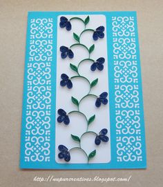 nupur creatives: Floral Card in Blue & Pink