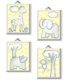 Zigs and Zags Chevron Jungle Animals Giclee Canvas Yellow