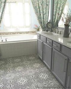 DIY Decor Project - Chalk Paint Painted Floors with Lisboa Tile Stencils - Royal Design Studio