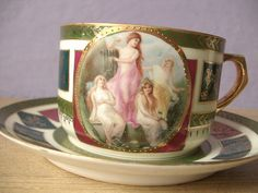 antique tea cup and saucer set, Made in Czechoslovakia porcelain tea set, maidens, green red blue gold, lesbian, Valentine's day gift. $79.00, via Etsy.