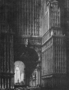 hugh ferriss - architectural sketches, 1915-1961, the metropolis of tomorrow.