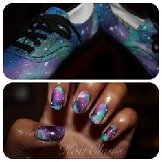 kattclaws: DIY Galaxy Vans and Galaxy nails to... | fuck yeah nail art!