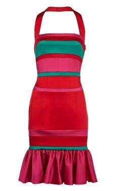 Karen Millen Colourblock satin dress red - Karen Millen Outlet - $84.66
