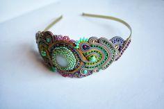 agtesa soutache: Gold & pastels soutache headband / hair accesories