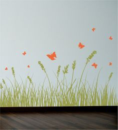 Grass and butterflies Wall Decal. Wall Sticker. by decoryourwall, $45.00