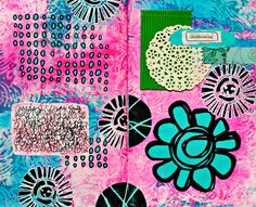 Mary Nasser Art's created new art journal pages with LOTS of StencilGirl stencils: including designs by Mary Beth Shaw, Cathy Nichols Art, and Raemissigman! See more photos at http://www.marycnasser.com/blog/new-mixed-media-art-journal-pages! ♡♡♡ the colors!!
