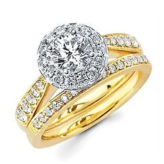 Two Tone Halo Round Diamond Engagement Ring Wedding Jewelry, Gold Jewelry, Jewelry Rings, Jewellery, Wedding Engagement, Diamond Engagement Rings, Wedding Bands, Bridal Sets, Bridal Rings