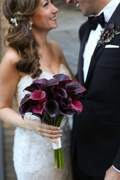 Brides: New York City Wedding at The Green Building in Brooklyn: Photos Calla Lily Bouquet, Boquet, Wedding Bride, Our Wedding, Wedding Bouquets, Wedding Dresses, Chuppah, Groom Attire, Brides And Bridesmaids