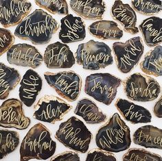 Calligraphy agate geode wedding place cards. Probably not the most affordable but amazing nonetheless!