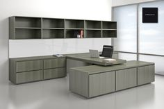 Modern Simple Grey Finish Cherry Wood Office Cabinet With Black Leather Swivel Chair And Large Grey Finish Cherry Wood Wall Mounted Shelves As Well As Modern Office Desk  Also Commercial Office Furniture of Modern Office Home Furniture For Elegant Workspace Design from Furniture Ideas