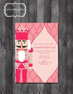 Holiday Party Invitation Pink Nutcracker by pickprintparty