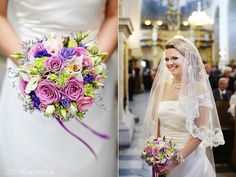 lilac blue green bouquet wedding