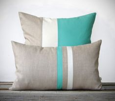 Mint Pillow Set - (12x20) Stripe and (20x20) Color Block  by JillianReneDecor - Modern Home Decor - Turquoise