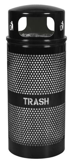 Ex-Cell Kaiser DM BLACK Landscape Series Perforated Trash Receptacle with Domed Lid, 34 Gallon Capacity, Diameter x Height, Black Outdoor Trash Cans, Trash Containers, Outdoor Material, Recycling Bins, Storage Organization, Steel, Landscape, Fences, Warehouse