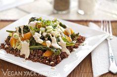 Steamed Veggies with Quinoa & Sesame Ginger Dressing - gluten free