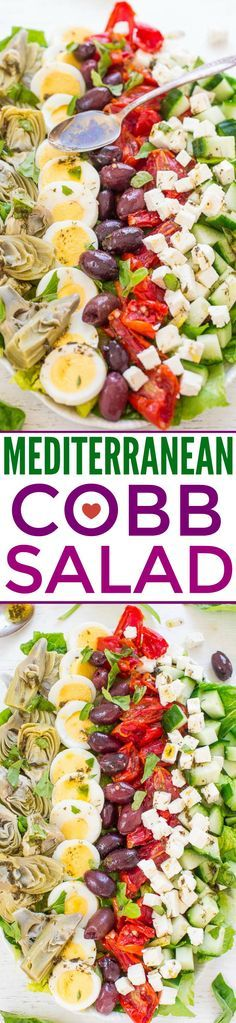 Mediterranean Cobb Salad An EASY HEALTHY Mediterranean twist on classic Cobb salad thats ready in 10 minutes Artichokes olives peppers cucumbers feta and more The vinaig. Healthy Diet Recipes, Healthy Salads, Salad Recipes, Vegetarian Recipes, Healthy Eating, Clean Eating, Ramen Recipes, Broccoli Recipes, Dinner Healthy