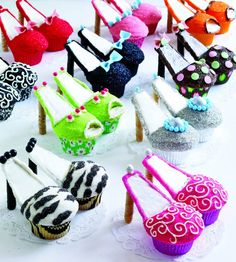 Cute shoe cupcakes!must send to Claire!