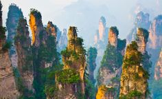 There are 3,000 of these towering stone pillars in China's Zhangjiajie National Forest Park. (From: 10 WEIRDEST Travel Destinations on Earth!)