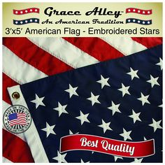 AMERICAN VINTAGE USA ALL SEWN COTTON FLAG 3X5 FEET 25 YEARS OLD NEW IN PACKAGE