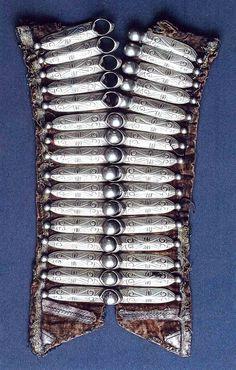 Caucasian plasteron (clasp), silver on leather. For women.  Late-Ottoman era, Kabardinians,19th c.