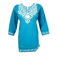 Mogulinterior Boho Indian Tunic Blue Embroidered Cotton Designer Kurta Blouse S