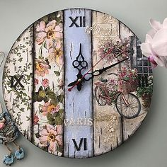Craft Stick Crafts, Wood Crafts, Diy And Crafts, Vintage Jewelry Crafts, Diy Clock, Decoupage Paper, Pallet Art, Craft Items, Decorative Accessories