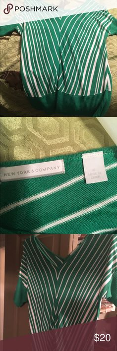 New York and co sweater Gorgeous green and white short sleeve sweater from New York and Company size XL only worn twice in beautiful condition New York & Company Tops