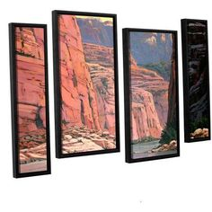ArtWall Rick Kersten Colorado River Walls 4-Piece Floater-framed Canvas Staggered Set, Size: 24 x 36, Brown