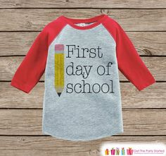 Childrens Back to School Outfit - Kids 1st Day of School Shirt - Red Raglan Tee - My First Day of School Top - Kids Back to School T-shirt