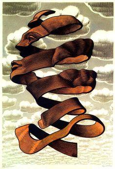 Rind by MC Escher, Lithograph Escher Kunst, Mc Escher Art, Escher Drawings, Zentangle, Illustration, Gravure, Op Art, Optical Illusions, Art History
