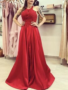 Elegant Red Appliques Prom Dresses Formal | Fashiondressy Long Prom Gowns, Prom Dresses, Formal Dresses, Wedding Dresses, Red Satin, Red Lace, The Dress, Evening Dresses, Color Box