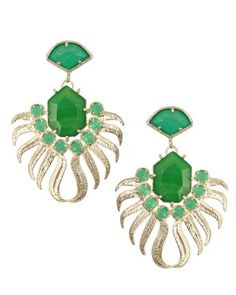 Fallon Earrings in Green Agate from Kendra Scott