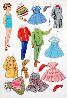 A huge paper doll and paper toy site gives away many charming free paper doll sheets. Paper Dolls Clothing, Doll Clothes, Cardboard Crafts, Paper Crafts, Doll Crafts, Paper Dolls Printable, Sunbonnet Sue, Label Paper, Vintage Paper Dolls