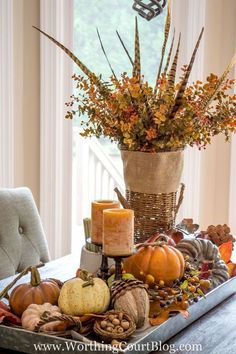 My 5 Best Tips For Creating A Fabulous Fall Centerpiece - Worthing Court - Diy Fall Decor Fall Table Centerpieces, Thanksgiving Centerpieces, Decoration Table, Centerpiece Ideas, Diy Thanksgiving, Wedding Centerpieces, Easter Centerpiece, Table Origami, Autumn Decorating