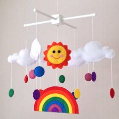 Rainbow baby mobile - Cot mobile - Sun, rainbow and multicoloured raindrops by Ella and Boo