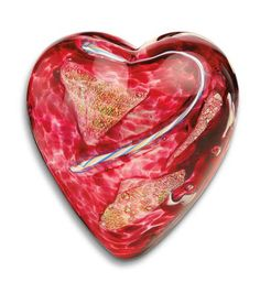 Limited Edition Blown Glass Heart Paperweight :: Island Art Glass