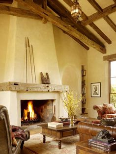 North Star Ranch in the Southern Colorado foothills Wood Mantle Fireplace, Stucco Fireplace, Brick Fireplace Makeover, Rustic Fireplaces, Fireplace Design, Adobe Fireplace, Architecture Building Design, Cute Cottage, Hacienda Style