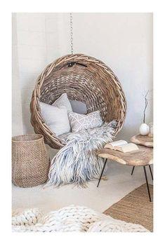 Rattan armchair arranged for a reading corner room Cosy Room, Decor, Rattan Armchair, Hanging Chair, Chair, Salon Cosy, Study Nook, Farmhouse Mantel, Deco