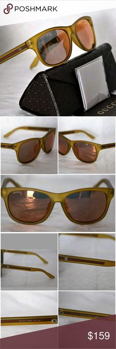 GUCCI MatteBio Basedsunglasses GUCCI MatteBio BasedHoney Yellow frame and signature Red/Green on middle of Yellow Temples, in light Mirrored Lens Sunglasses, frame matte.  Made in Italy. New condition with out tags. Unisex Gucci Accessories Glasses
