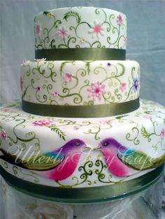 Colorful Indian Crewelwork & Songbirds Cake