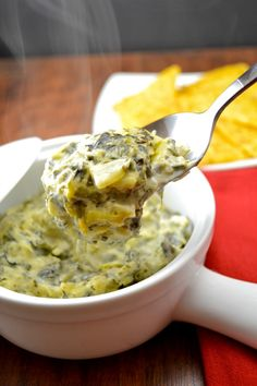 Extra creamy & cheesy Spinach Artichoke Dip (with a special ingredient!) Perfect for game day!
