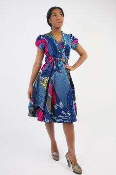 HARRIET WRAP DRESS : Flattering puff sleeves wrap dress Versatile and easy to wear Belt fastening at waist