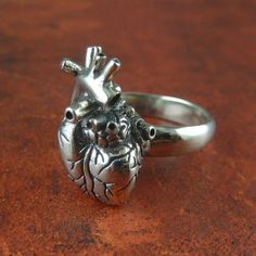 Anatomical Heart Ring (solid white bronze)