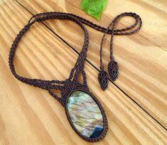 Labradorite macrame necklace macrame jewelry gemstone