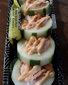 Cucumber hollowed out with spicy crab and shrimp with spicy mayo.