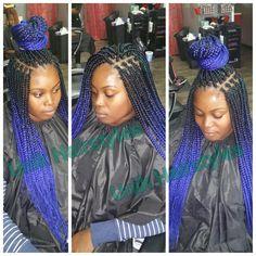 Blue ombre braiding hair