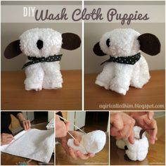Cloth Puppies Easy Video Instructions Lots Of Cute Ideas These Wash Cloth Puppies are super cute and perfect for a baby shower gift! Get the tutorial now.These Wash Cloth Puppies are super cute and perfect for a baby shower gift! Get the tutorial now. Diy Diaper Cake, Nappy Cakes, Towel Origami, Bebe Shower, Diy Diapers, Cloth Diapers, Towel Animals, Towel Crafts, Baby Puppies