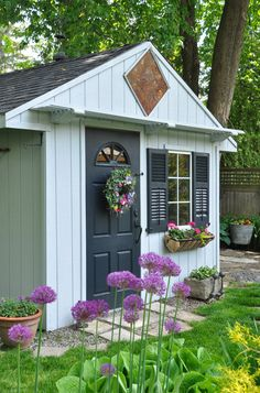 Three Dogs in a Garden: Garden Sheds: Everything from Classic to Pretty and Rustic Painted Garden Sheds, Painted Shed, Garden Shed Diy, Garden Tool Storage, Smart Garden, Backyard Sheds, Diy Shed, Outdoor Sheds, Garden Cottage